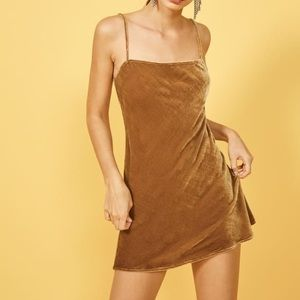 Reformation Delfine Dress, Gold